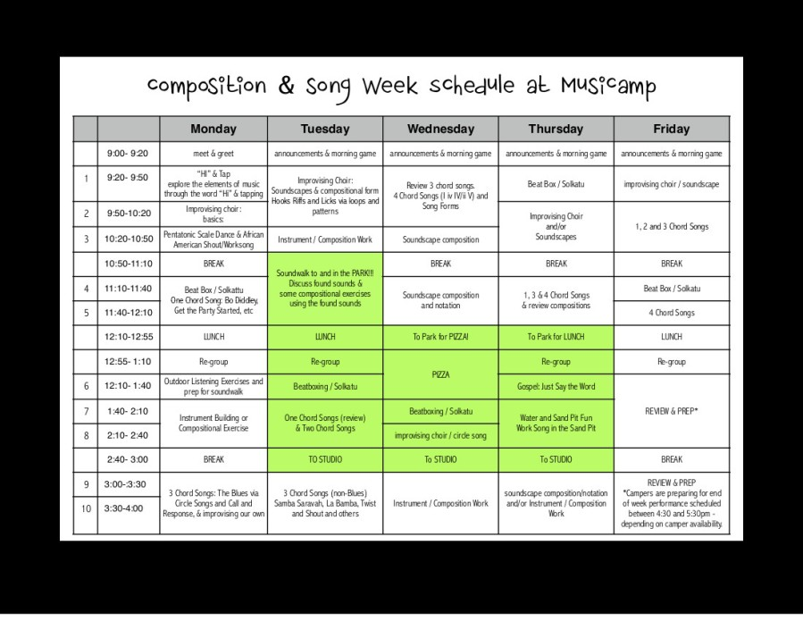 SONG & COMP WEEK SCHEDULE