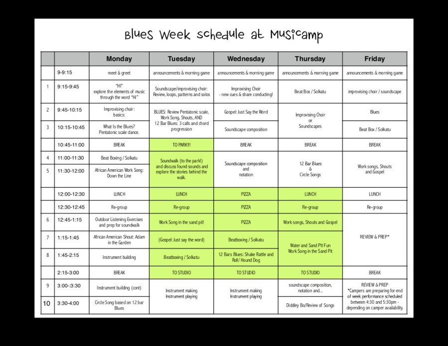 BLUES WEEK SCHED