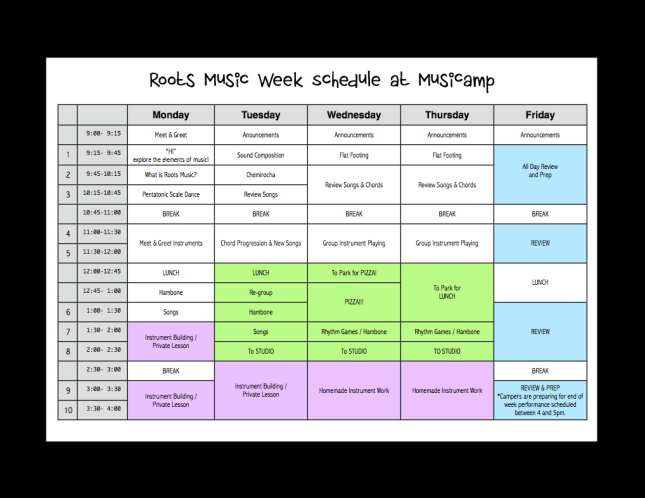 Roots MusiCamp 2014 Schedule